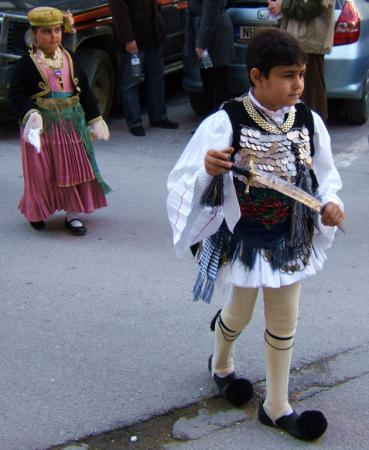 Carnival and Clean Monday: Boy and girl in costume