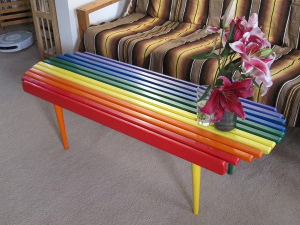 After - Our new rainbow hippie coffee table!