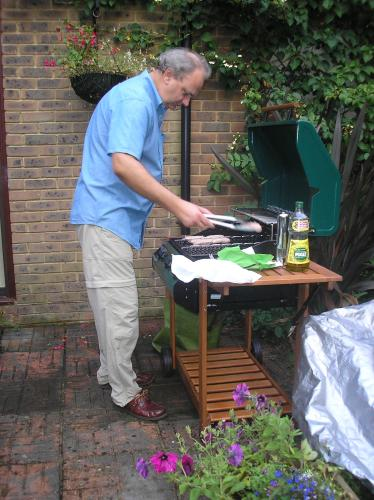 Horley trip: Stephen at barbecue