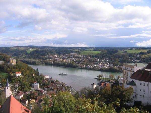 Confluence of Inn, Ilz, and Danube rivers