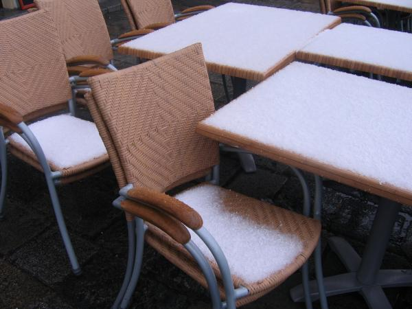 Accumulated hail on outdoor seating