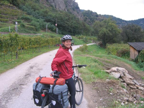 Riding through vineyards