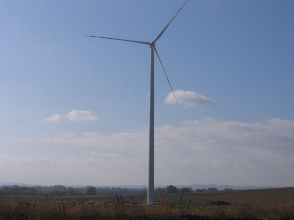 Wind turbine in rural Hungary
