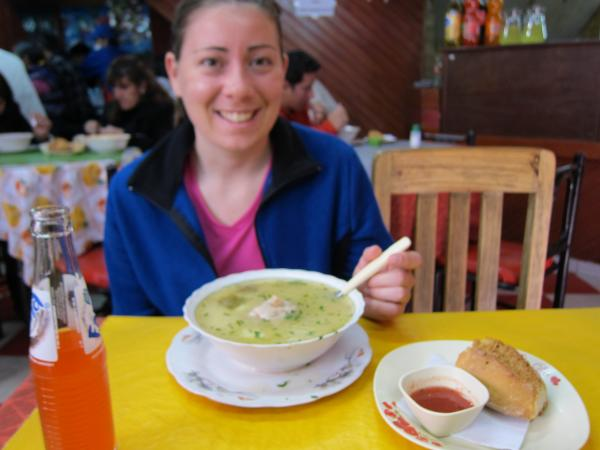 Cassie´s first Bolivian meal!
