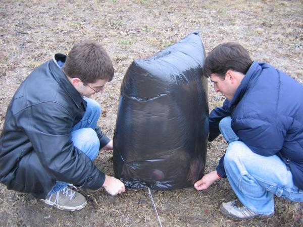 Jonathan and Paul launching the balloon